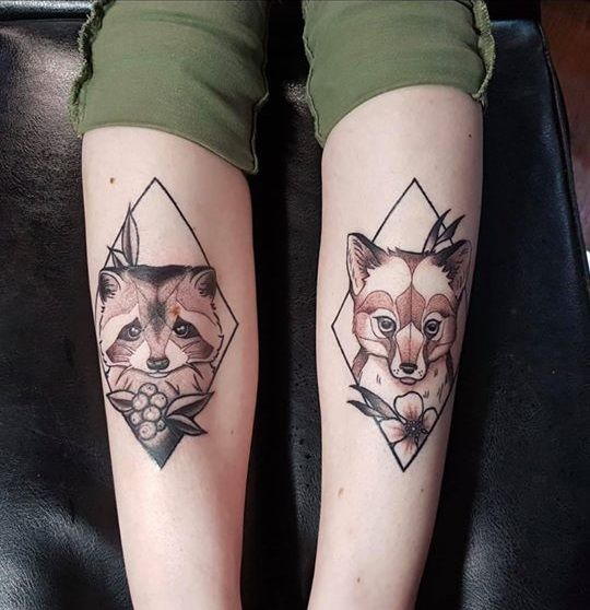 View Raccoon & Fox on shins by Nathan Green